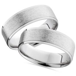 14K White Gold His Hers Brushed Wedding Band Ring Set