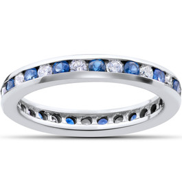 1 1/2ct Diamond & Sapphire Eternity Ring 14K White Gold (G/H, I1)