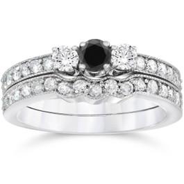 3/4ct Treated Black Diamond Three Stone Vintage Ring Set 14K White Gold (G/H, I1)