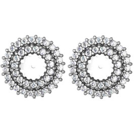 SI 7/8ct Diamond Earring Studs Double Halo Jackets White Gold  (5-5.5mm) (G-H, SI)