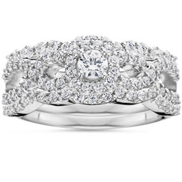 1 1/10Ct Diamond Engagement Bridal Wedding Ring Set 10K White Gold (H/I, I1-I2)