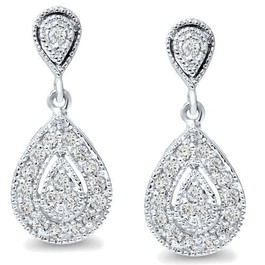 1/2ct Pear Shape Dangle Diamond Earrings 10K White Gold (H/I, I2-I3)
