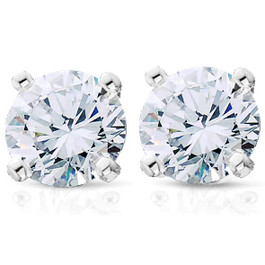 3/4ct Diamond Studs Earrings 14K White Gold (G, VS2-SI1)