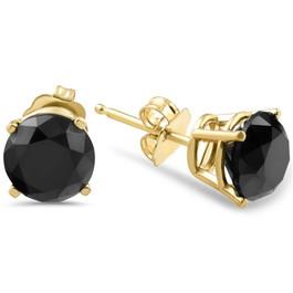 1 1/2ct Black Diamond Stud Earrings Yellow Gold (Black, AAA)