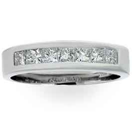 1 1/2ct Princess Cut Mens Real Diamond Wedding 14K Ring (G/H, SI)