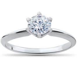 1/3 ct Solitaire Diamond Engagement Ring 14k White Gold (G/H, I1)