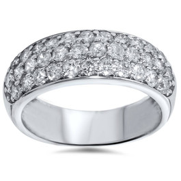1 1/2ct Pave Diamond Wedding Anniversary 14K New Ring (G/H, I1)