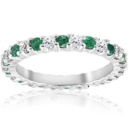 1 1/2ct Emerald Diamond Eternity Ring 14K White Gold (G/H, I1-I2)