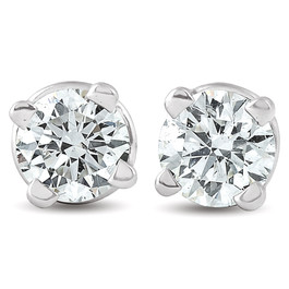 1/4 Ct Diamond Screw Back Studs 14k White Gold Lab Grown Eco Friendly (G, VS)