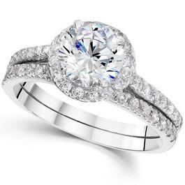 1ct Round Diamond Halo Engagement Ring Set 14K White Gold (G/H, SI2-I1)