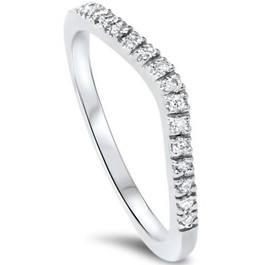 1/8ct Curved Diamond Wedding Ring 950 Platinum (G/H, SI1-SI2)