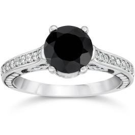 2 1/4ct Vintage Black Diamond Engagement Ring 14K White Gold (G/H, I2)