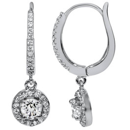 """5/8ct Pave Diamond Hoop Dangle Lever Back Earrings 18K White Gold 1"""" Tall (F-G, SI)"""