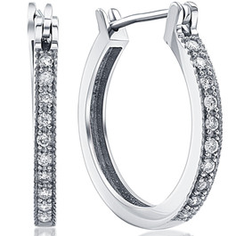 1/4ct Diamonds Hoops Milgrained 14K White Gold (H, I2)