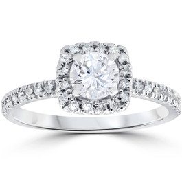 1/2ct Diamond Cushion Halo Engagement Ring 10K White Gold (G/H, I1-I2)