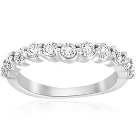 5/8 ct Diamond Engagement Guard Wedding Ring Enhancer Band 14k White Gold (I-J, I1)