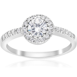 1 1/3ct Diamond Halo Engagement Ring 14k White Gold (G/H, I1)