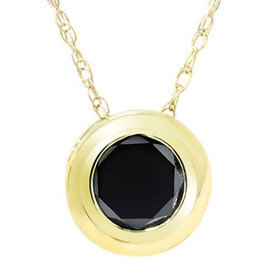 1/2ct Black Diamond 14K Yellow Gold Solitaire Pendant (Black, AAA)