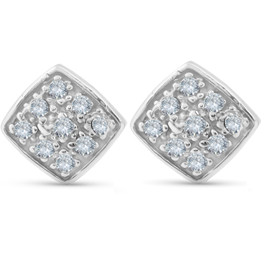 1/3ct Pave Stud Cushion Halo Diamond Cushion Shape Earrings 10K White Gold (H, I2)