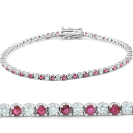 3ct Genuine Ruby & Real Diamond Tennis Bracelet 14K White Gold (G/H, I1)