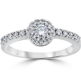 1ct Halo Diamond Engagement Ring 14K White Gold (H/I, I1-I2)
