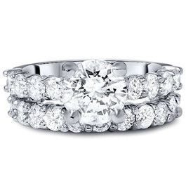 5ct Enhanced Diamond Eternity Engagement Wedding Ring Set 14K White Gold (G/H, I1-I2)