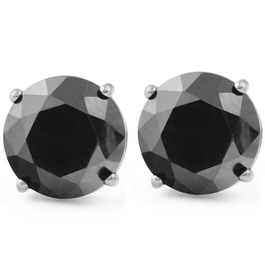 2Ct Treated Black Diamond Studs Earrings In 14K White & Yellow Gold in Basket Setting (Black, AAA)