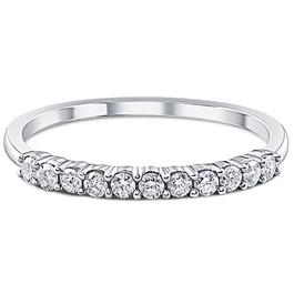 1/4ct 14K White Gold Diamond Wedding Stacker Guard Ring (G/H, I2)