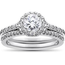 3/4ct Halo Diamond Engagement Wedding Ring Set 14K White Gold (G/H, I1-I2)