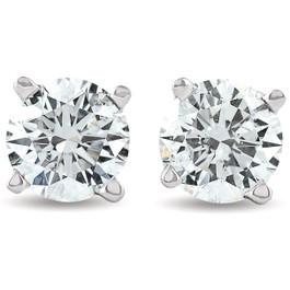 2 cttw Round Diamond Studs With Screw Backs Enhanced (I-J, VS1-VS2)