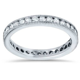 1ct Channel Set Diamond Eternity Ring 14K White Gold (G/H, SI)