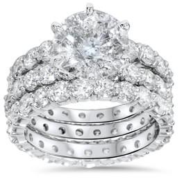 9ct Diamond Engagement Ring Eternity Guard Band Set 14k White Gold (H/I, I1-I2)