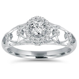 1/2CT Vintage Halo Round Diamond Engagement Ring 14K White Gold (H/I, I1-I2)