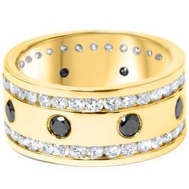 3 3/4ct Black & White Diamond Eternity Ring 14K Yellow Gold 10mm (G/H, SI2)