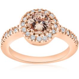 1ct Pave Diamond Morganite Halo Engagement Ring 14k Rose Gold (G/H, I1)