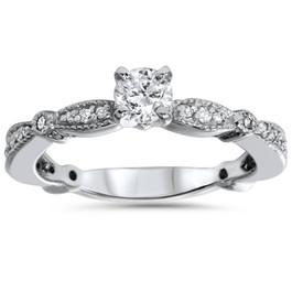 3/4 CT Vintage Diamond Engagement Ring 14K White Gold (G/H, I1-I2)