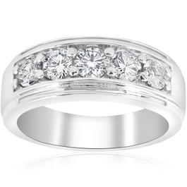 1 ct Mens Diamond Five Stone Wedding Ring 10k White Gold (G/H, I1)