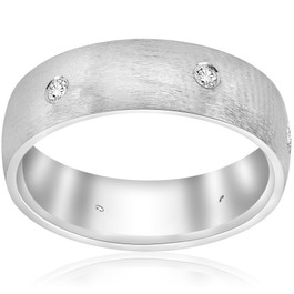 10k White Gold Diamond Brushed Wedding Ring (G/H, I1)