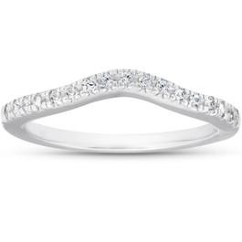 1/8ct Curved Diamond Wedding Ring 14K White Gold (G/H, I1-I2)