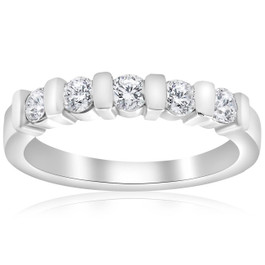 1/2ct 5-Stone Diamond Bar Set Wedding 14k White Gold Bridal Ring (G/H, I1)