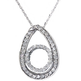 White Gold 1/2ct Oval Circle Diamond Pendant Necklace (G/H, I2)