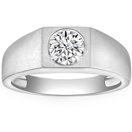 1 ct Solitaire Diamond Mens Wedding Ring 14k White or Yellow Gold ((G-H), SI(1)-SI(2))