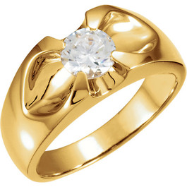 1/2ct Solitaire Mens Diamond Wedding Ring 14k Yellow Gold (H, I1)