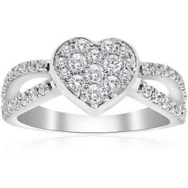 3/4 ct Heart Shape Pave Diamond Engagement Ring 10k White Gold (H/I, I1-I2)
