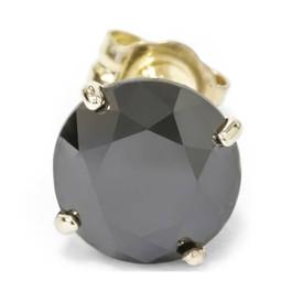 2ct Black Diamond Single Stud 14K Yellow Gold (Black, I2)