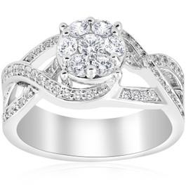 1ct Pave Round Brilliant Halo Diamond Engagement Cross Over Ring 10k White Gold (H/I, I1-I2)