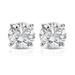 1 Ct TDW Round Cut 14K White Gold Diamond Studs Earrings IGI Certified (I-J, I2-I3)