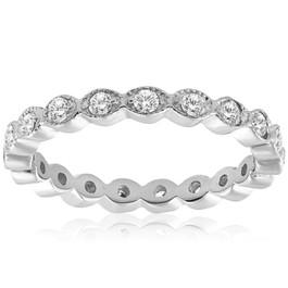 1/3ct Diamond Eternity Wedding Ring Filigree Vintage White Yellow Rose Gold 14k (H/I, I1-I2)