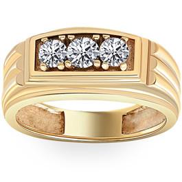 Mens Gold 3/4ct Three Stone Diamond Anniversary Ring 14K Yellow Gold (G/H, I2)