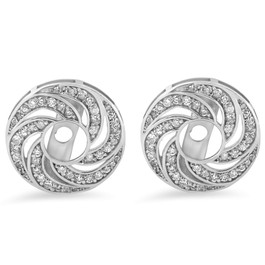 Women's 1/2ct Diamond Earring Halo Jackets Solid 14k White Gold (up to 4mm) (H-I, I3)
